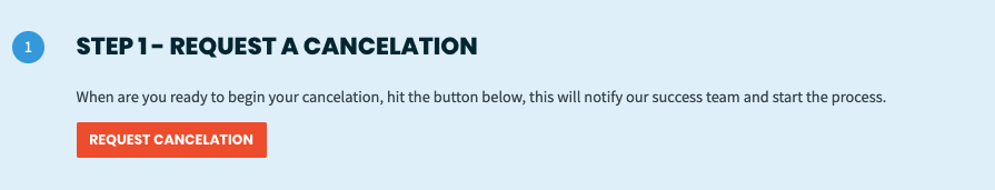Cancelation step 1 with a button to officially Request Cancelation