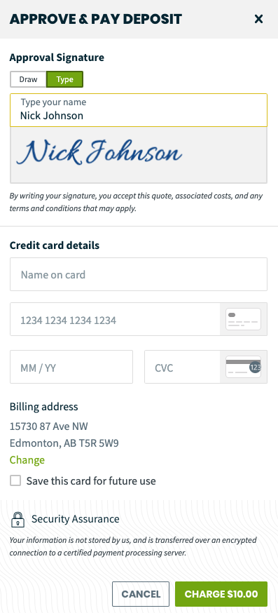 approve and pay deposit screen with an option to sign and enter credit card details
