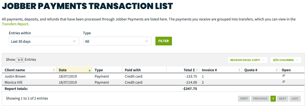 Jobber Payments Transactions report showing two credit card payments