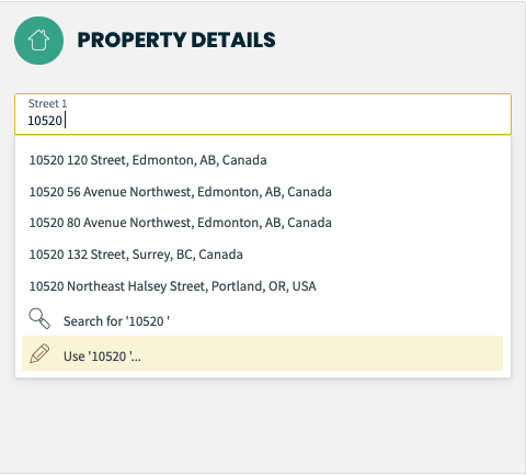 searching for a property on the property details screen.