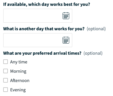 online booking section asking what day works for the client