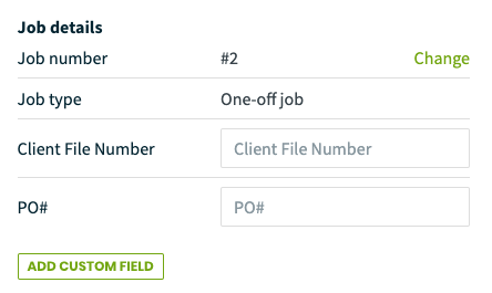 Job details section of a job showing custom fields
