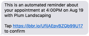 reminder text message about an appointment