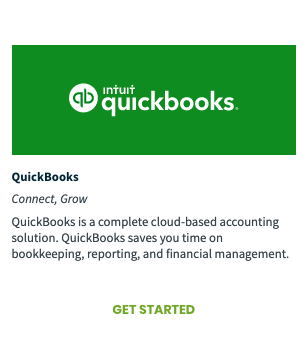 QuickBooks tile from the App Marketplace