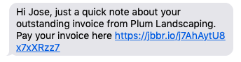 text message of an invoice follow-up