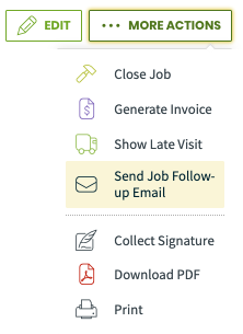 More actions menu with send Job Follow-up email highlighted