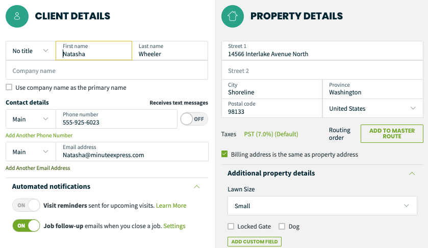 client details on the left and the property details on the right.