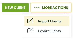 More Actions menu with an option to import clients