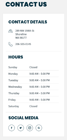 Contact us section of the client hub. Shows address, phonen number, and operating hours