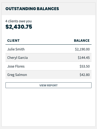 outstanding balances section of the dashboard