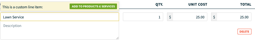 line item with an option to add it to your default products and services