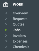 jobs selected from the side navigation