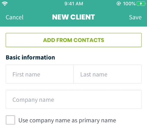 Button to add a client from your phone's contacts
