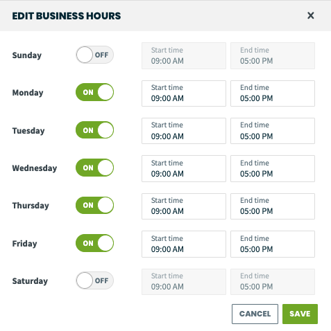 Edit business hours screen