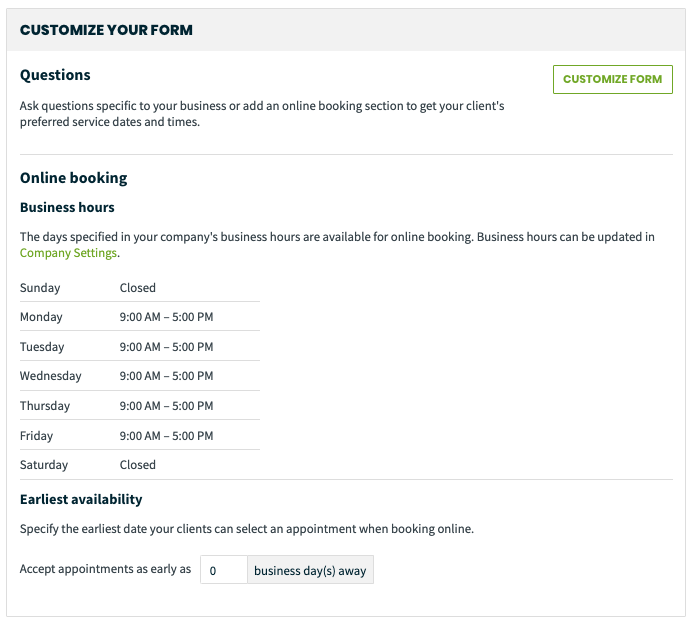 customize your request/online booking form
