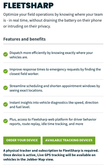 Fleetsharp settings page in Jobber. There are options to order a device and to view available tracking devices