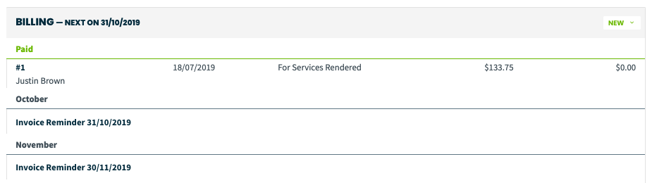 billing section with dates of future invoice reminders