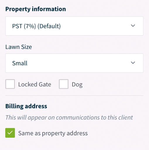 property information like tax rates and custom fields