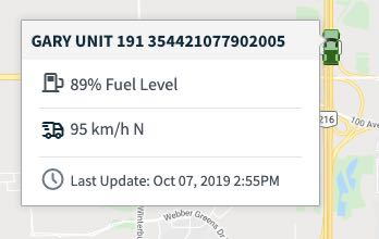tracker details from the map view of the calendar showing fuel level, speed, and last updated