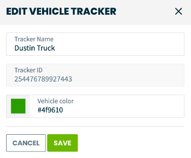 Edit vehicle tracker pop-up with options to rename the tracker and update the color it displays on the map