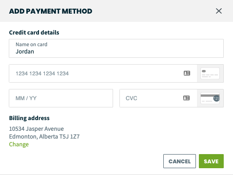 Add payment method screen