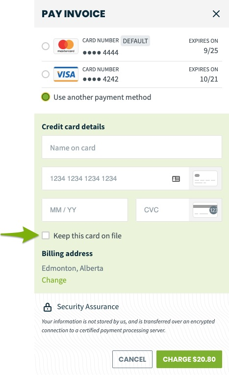 option to pay invocie with the option to use another payment method. There is an arrow pointing towards the option to keep the card on file