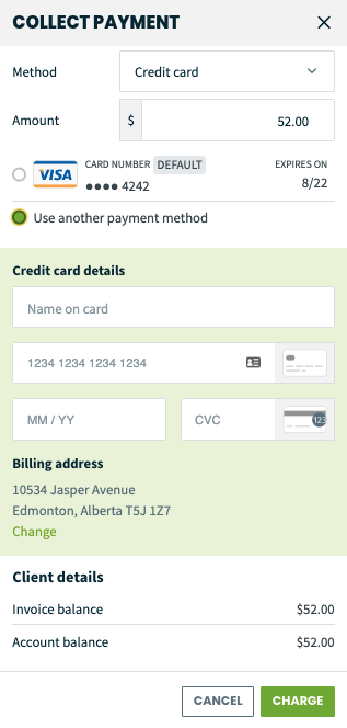 option to use a different credit card and enter the details for the new card