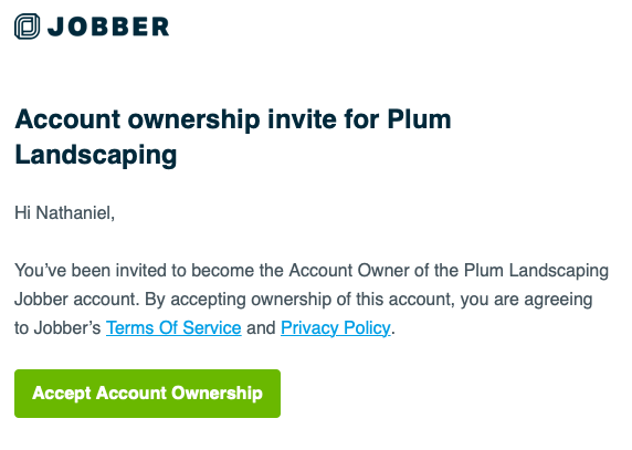 Email invite for the new user to accept the account ownership