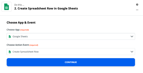 Setup screen in Zapier with fields to chose an app and trigger event. Google Sheets and create spreadsheet row are selected.