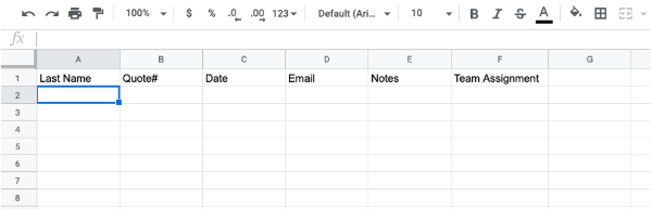 spreadsheet in Google sheets with headings that match fields on quotes