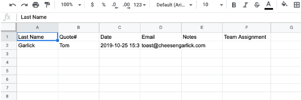 new row in the Google spreadsheet showing information populated that was triggered by a new quote being created