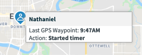 waypoint with employee name and time of clock in