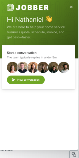 Chat window with a button to start a new conversation