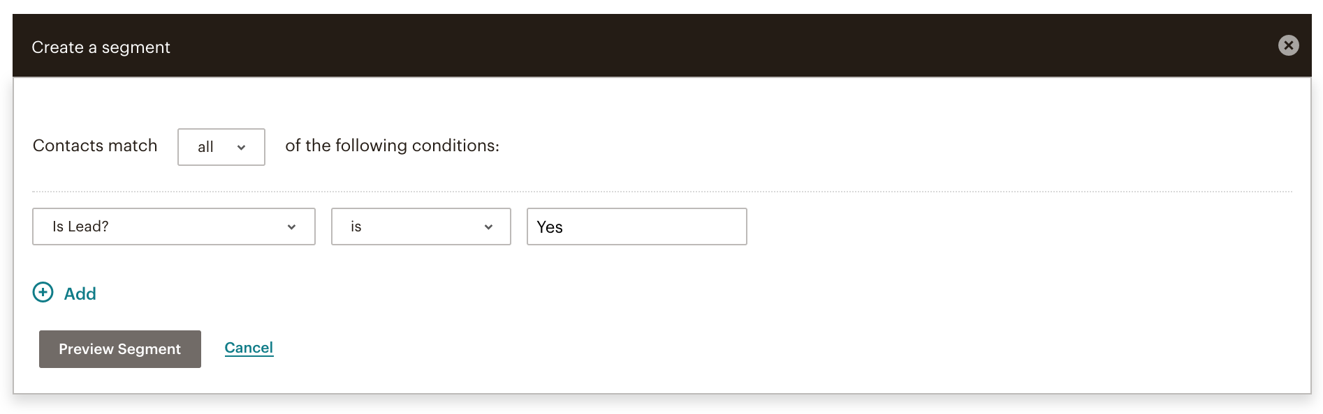 create a segment in mailchimp