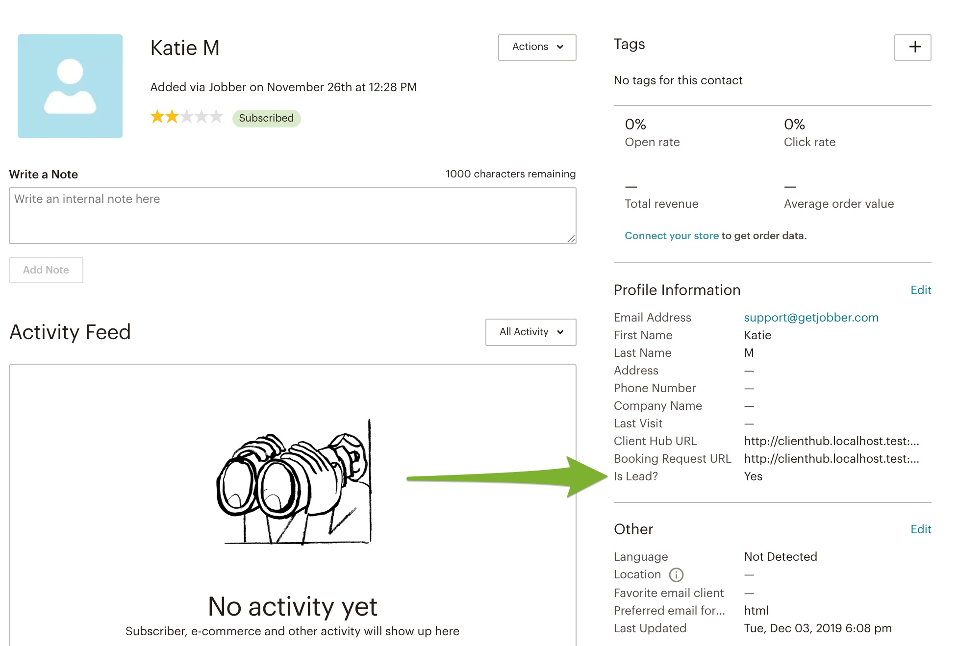 contact in mailchimp