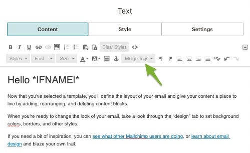 campaign edit screen in Mailchimp with an arrow pointing to the icon for merge tags