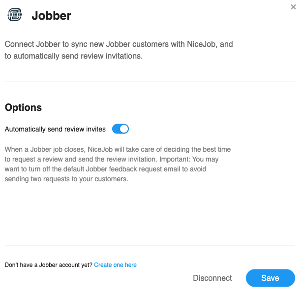 Manage settings with Jobber page