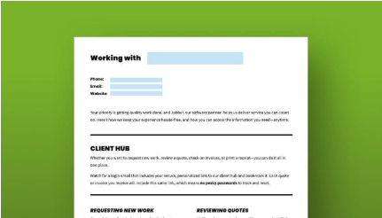 printed out PDF with fields to add in your business name and contact info