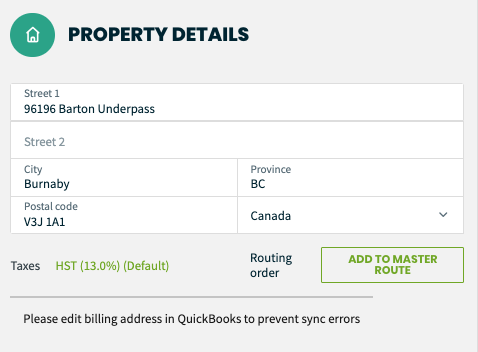 Propery details screen with a message that the billing address must be edited in QuickBooks