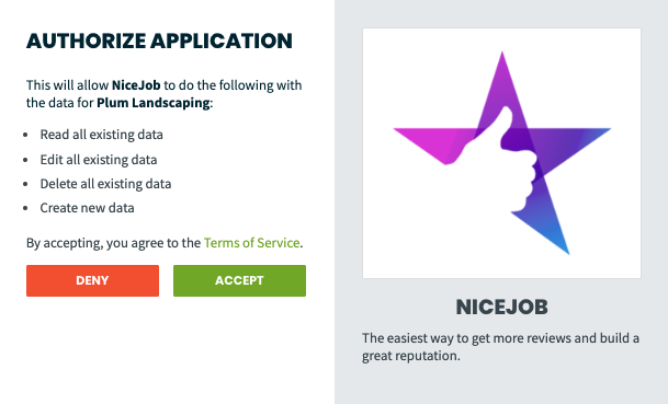 authorization to allow NiceJob to access data from your Jobber account