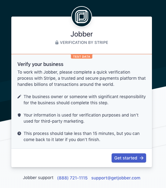 Jobber verification by Stripe page with a button to Get Started