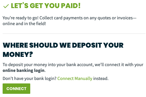 Option to connect your bank account