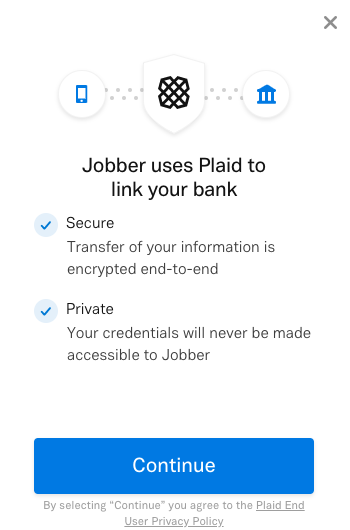 pop-up screen that says Jobber uses Plaid to link your bank with a button to continue