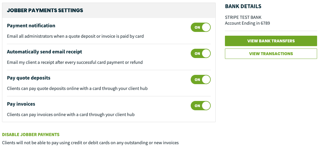 Jobber Payments Settings