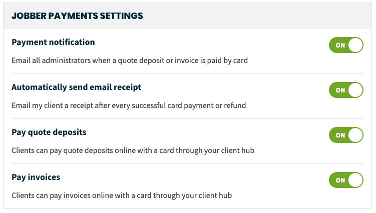 Jobber Payments settings options