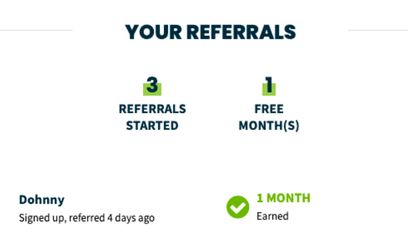 who you have referred and number of free months