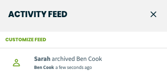 activity feed showing a client was archived by a user