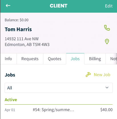 client profile with tab for Jobs selected