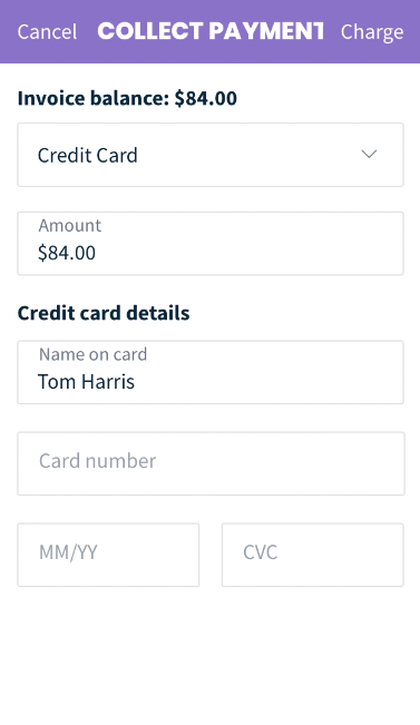 Collect Payment screen