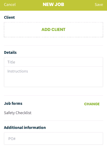 new job creation screen with the option to add client and job forms